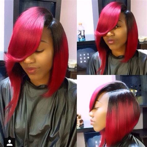 red weave bob bob ombre black red sidebangs featheredbangs bob