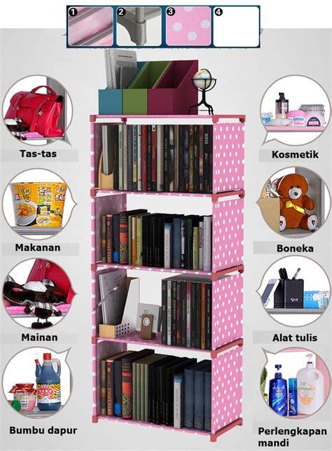 Rak Tempat Buku jual rs001 rak serbaguna 4 susun rak buku lemari tempat
