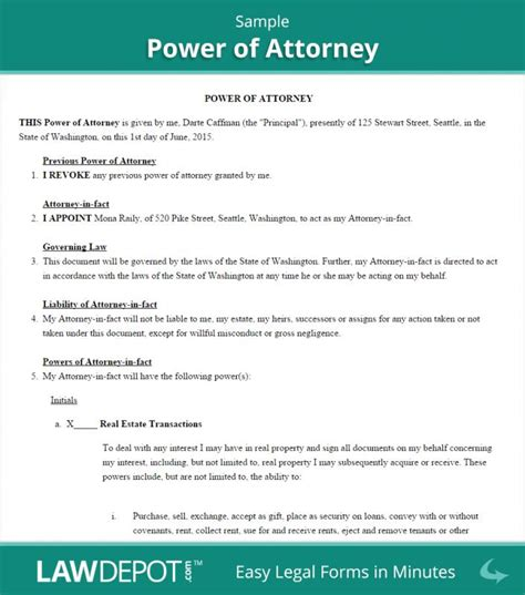 business power of attorney template power of attorney sle template business