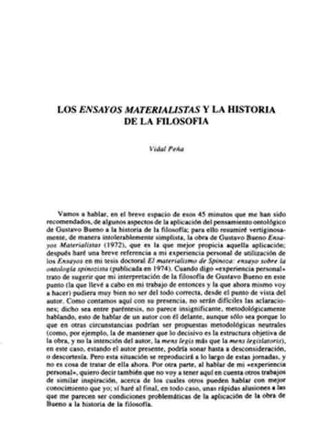 vidal pe 241 a los ensayos materialistas y la historia de la filosof 237 a editorial complutense