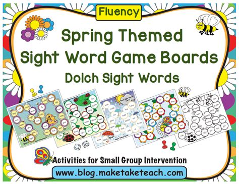 free printable dolch word games spring themed sight word game boards make take teach