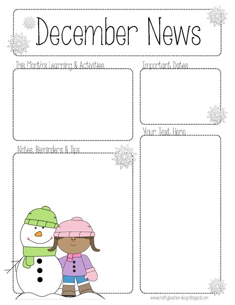 january preschool newsletter template the crafty december newsletter for all grades