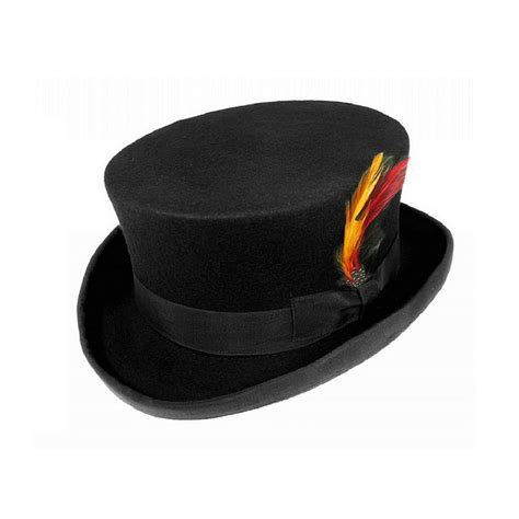 wool felt dickens short top hat with approx 4 crown black