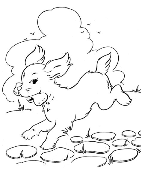 Dog Running Coloring Page | dog running with bone coloring page animal pages of