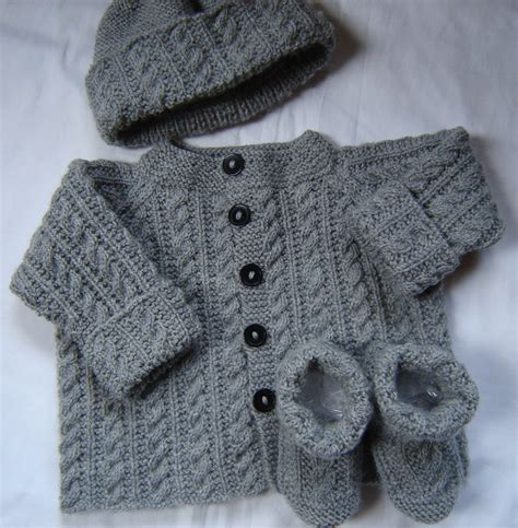 baby sets knitting patterns baby boy sweater set hat booties knit gray wool size 3m