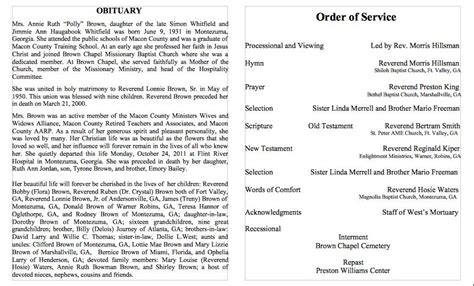 25 Obituary Templates And Sles Template Lab Free Downloadable Obituary Program Templates