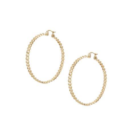 Chain Hoop Earrings kurt geiger chain hoop earrings in gold lyst
