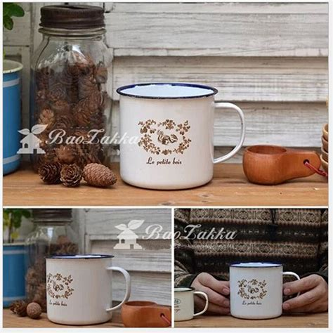 Mug Blirik 10 Cm Mug Enamel Mug Kaleng 10cm vintage enamel mug squirrel wreath white color coffee milk tea enamel mug drink cup for