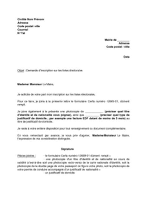 Lettre De Demande D Inscription Au Concours Lettre De Demande D Inscription Sur Les Listes 233 Lectorales Mod 232 Le De Lettre Gratuit Exemple