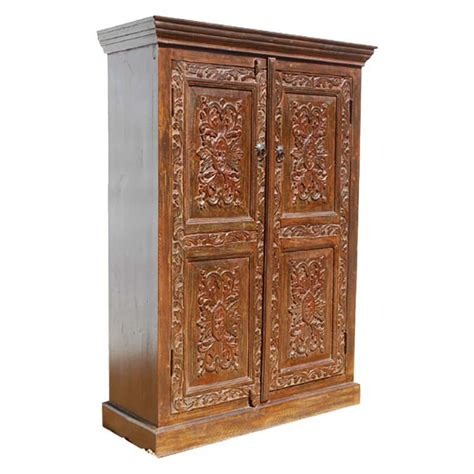 solid wood hand carved doors armoire storage closet shelf