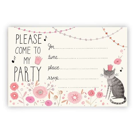 free printable birthday invitations with cats kitty party invitation printable download my work