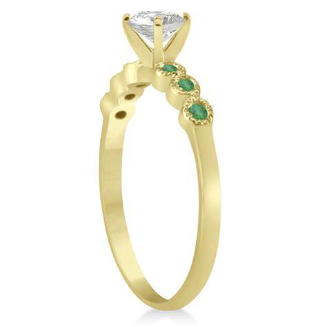 emerald bezel set engagement ring setting 18k yellow gold