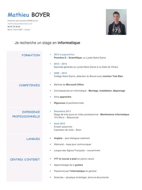 Cv Pour Stage by Cv Informatique Par Mathieu Boyer Cv Stage Informatique