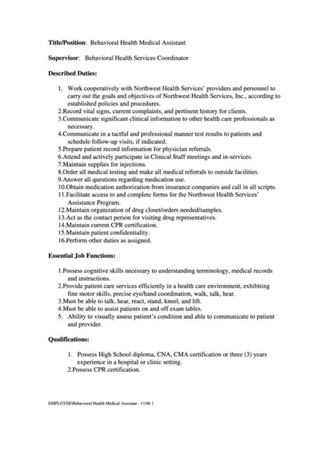 Top 9 Medical Assistant Job Description Templates Free To Download In Pdf Format One Page Description Template
