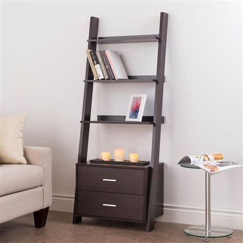 leaning bookcase with drawers ksp incline leaning shelf unit with 2 drawers espresso