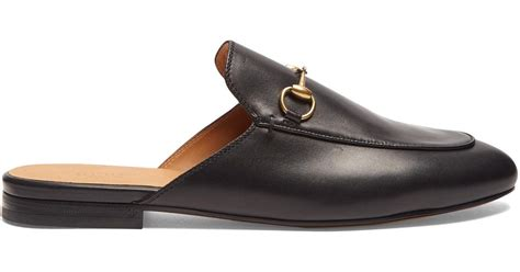 backless loafers lyst gucci princetown leather backless loafers in black