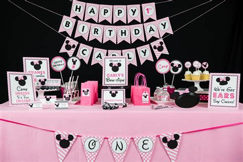 minnie mouse printable birthday decorations minnie mouse birthday party printables and invitation