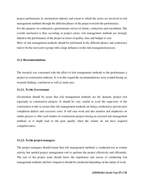 research paper on risk management effect or risk management methods on project performance