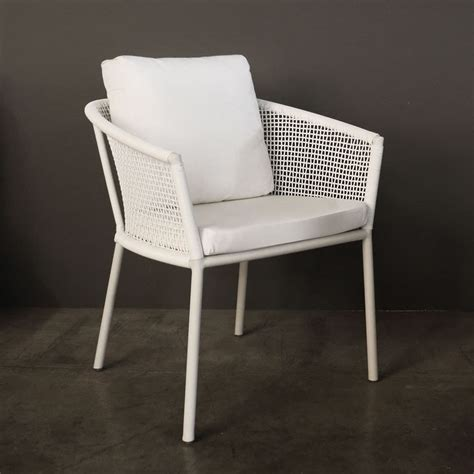 washington white woven outdoor dining chair cafe seating