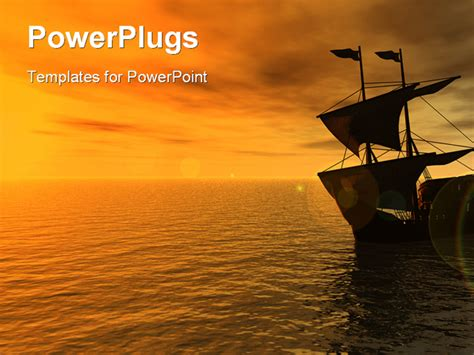 powerpoint themes ships sailing ship in the sunset 3d powerpoint template
