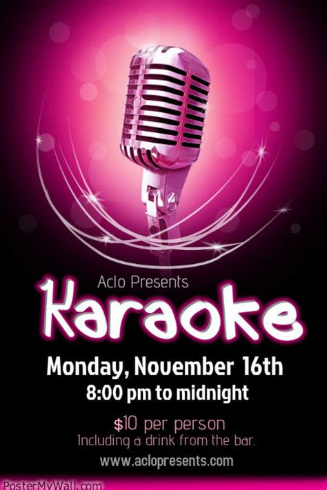 free templates for karaoke flyers karaoke poster templates postermywall