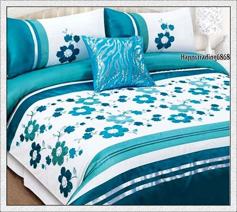Quilt Covers King Size Australia by 280tc White Turquoise Flora Embroidery Pintuck 3pc
