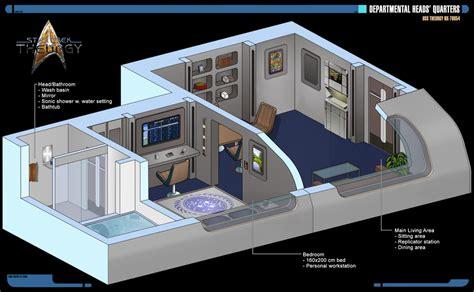 Starship Floor Plan by Departmental Heads Quarters Star Trek Theurgy By
