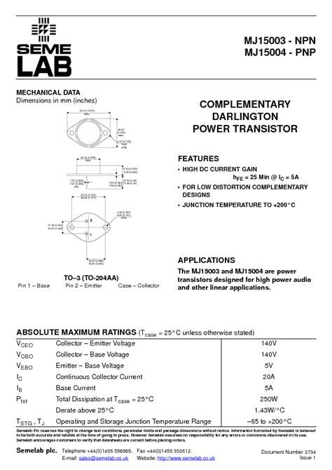 transistor mj15003 transistor mj15003 datasheet 28 images on semiconductor mj15003 series datasheets mj15003