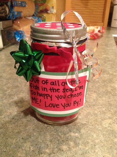 diy christmas present   boyfriend mason jar filled  sweetish fish diy gifts