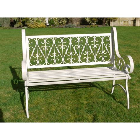garden metal bench white ornate metal garden bench swanky interiors
