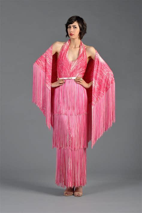 splatter painted 1970s tiered fringe maxi dress w shawl bustown modern