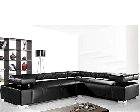 Contemporary Black Leather Sectional Sofa Set 44l0597 Black Leather Contemporary Sofa