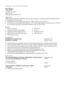radiography cover letter resume exle college of radiologic technologist resume