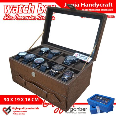 Kotak Jam Tangan Exclusive elegan brown croco box mix jewelry drawer kotak