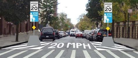 nacto streetsblog new york city first nyc 20 mph zone to slow cars with gateway neckdowns