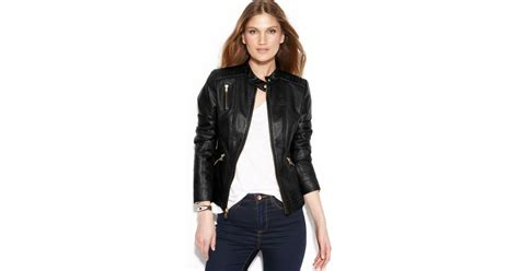 Guess Sprint Black Leather guess quilteddetail fauxleather jacket in black lyst