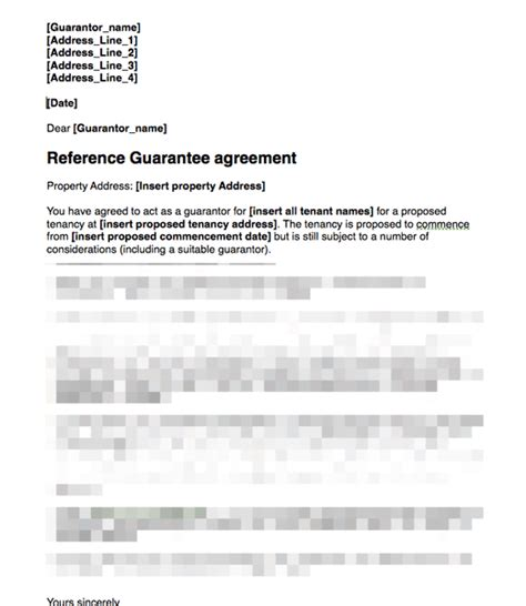 Guarantor Letter Rent Template Proposed Guarantor Covering Letter For Signing Guarantee Agreement Grl Landlord Association