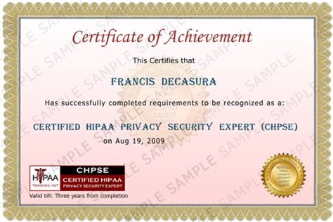 hipaa certificate template certified hipaa privacy security expert
