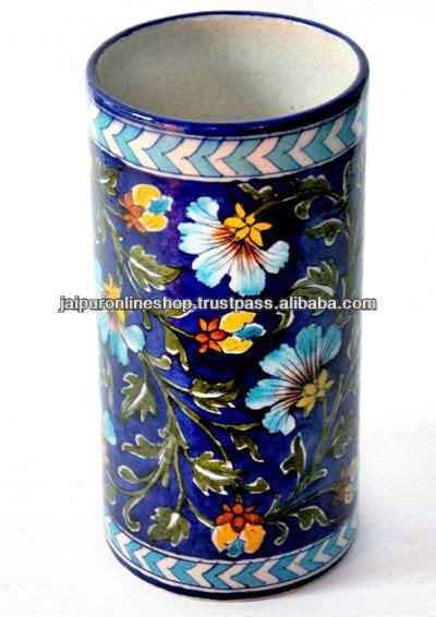 Handmade Pots Design - indian blue pottery flower vase painted rich look