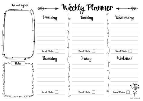 weekly planner printable pinteres