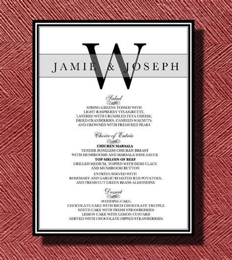 7 menu cards for wedding itinerary template sample