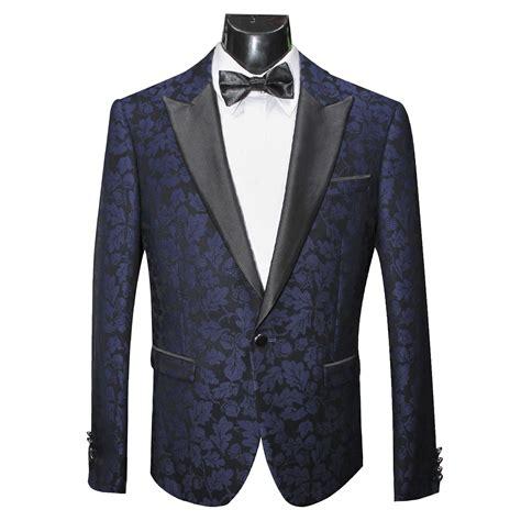 womens blue patterned jacket scuzzatti blue floral patterned tuxedo jacket slim fit