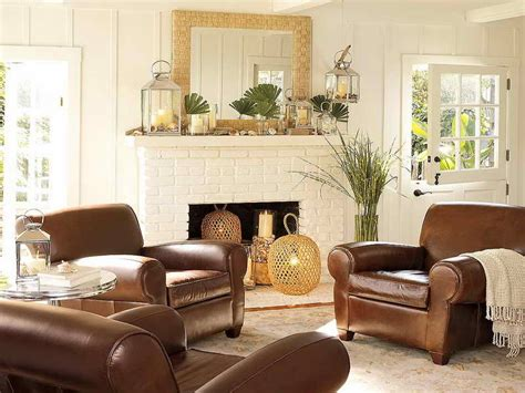 brown leather couch living room ideas living room cool ideas of pottery barn living room