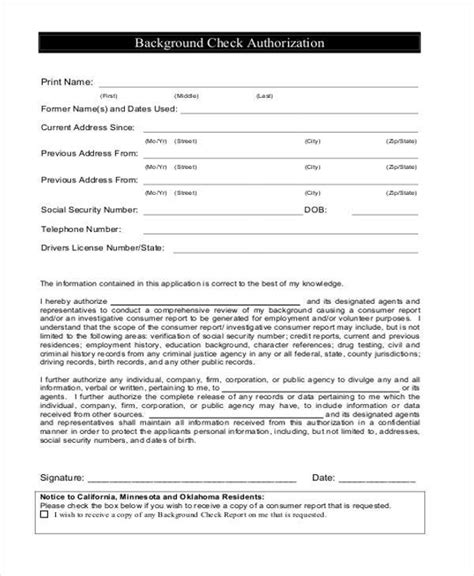 Authorization Form Templates Employment Application With Background Check Template