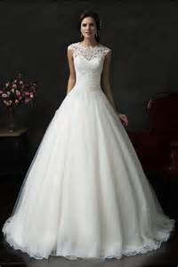 beautiful ball gown cap sleeve organza lace wedding dress
