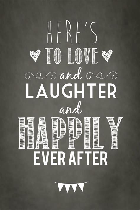 """Quotes About Happiness : Cute poster """"Here's to love and"""