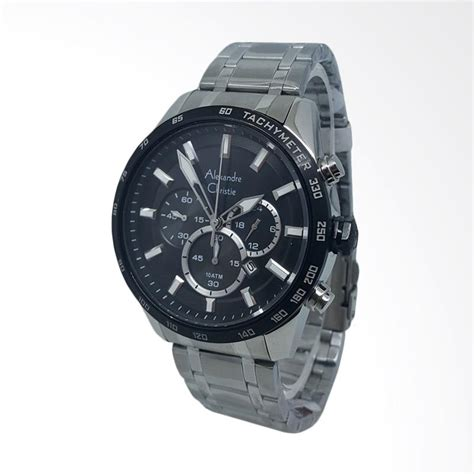 Jam Tangan Pria Alexandre Christie 8229 Silver Hitam Original jual alexandre christie chronograph tali rantai jam tangan