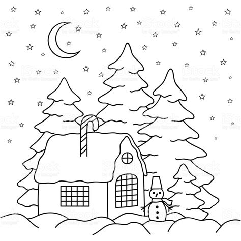 snow village coloring page handdraw village house behind the fence coloring book page