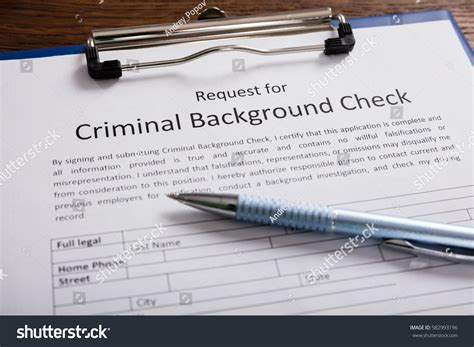 Criminal Record Check Application Closeup Criminal Background Check Application Form Stock Photo 582993196