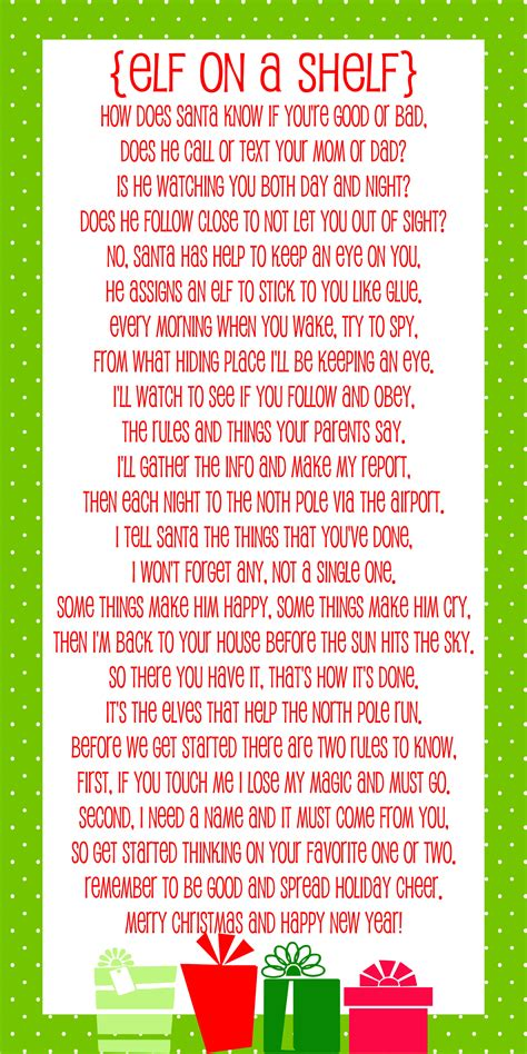 Printable Elf On A Shelf Pictures | elf on the shelf poem